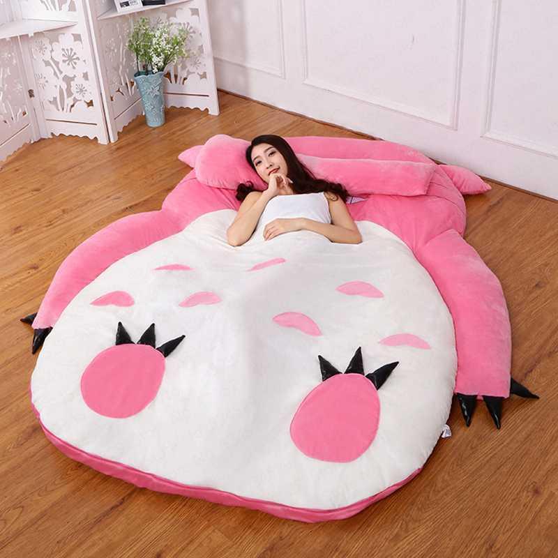Cute Totoro Single Bed Lazy Sofa Bed Comfortable Sleep Beb Cartoon Sofa Mattress Bedroom Removable and Washable Kids