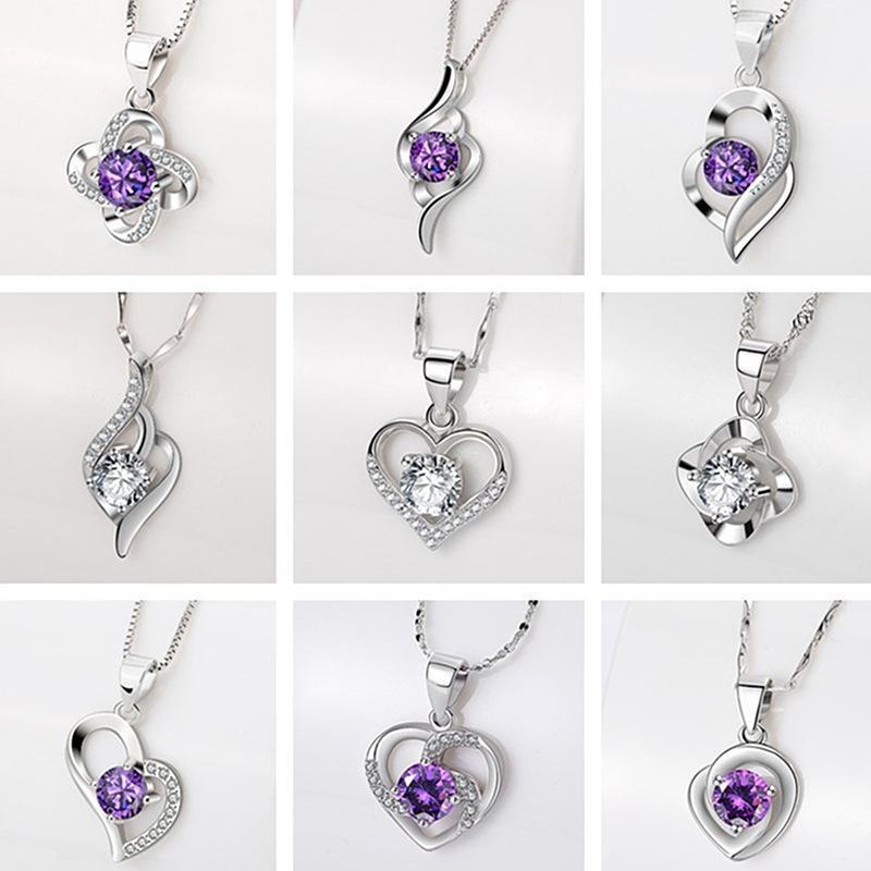 Spedizione gratuita di alta qualità argento sterling argento cuore collana imitazione D color mosang pietra a forma di clover a forma di cuore all'ingrosso