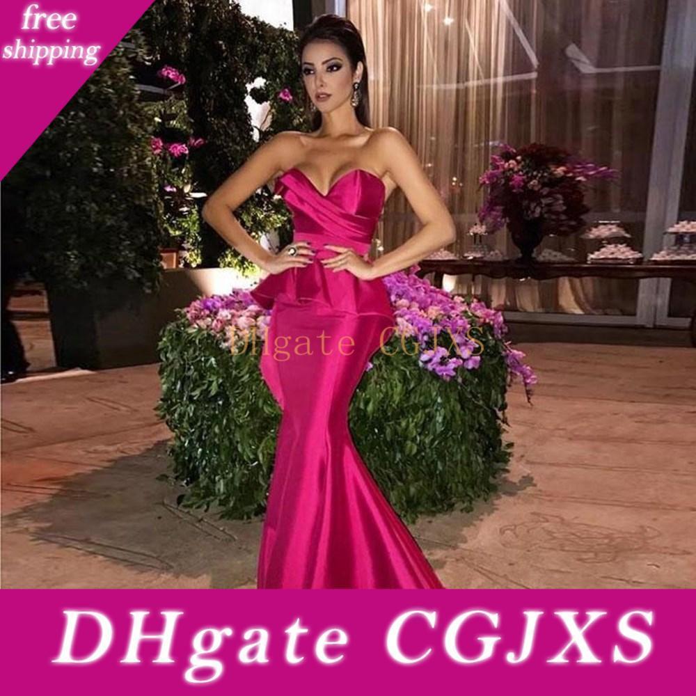 Élégant Fuchsia sirène Robes de bal avec bretelles parole longueur Plis Taille Plus de soirée Wears Custom Made robe de bal pas cher