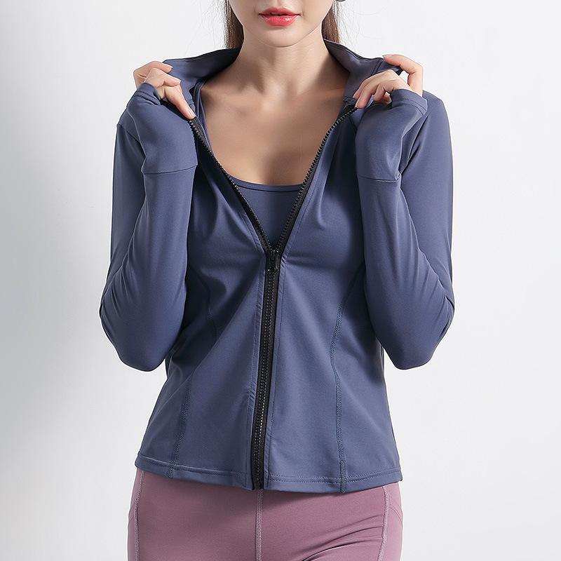 Sportjacke Frauen Langarm Zipper Fitness Yoga-Hemd Top Workout Gym Activesport Laufsport Coats Training Kleidung Top