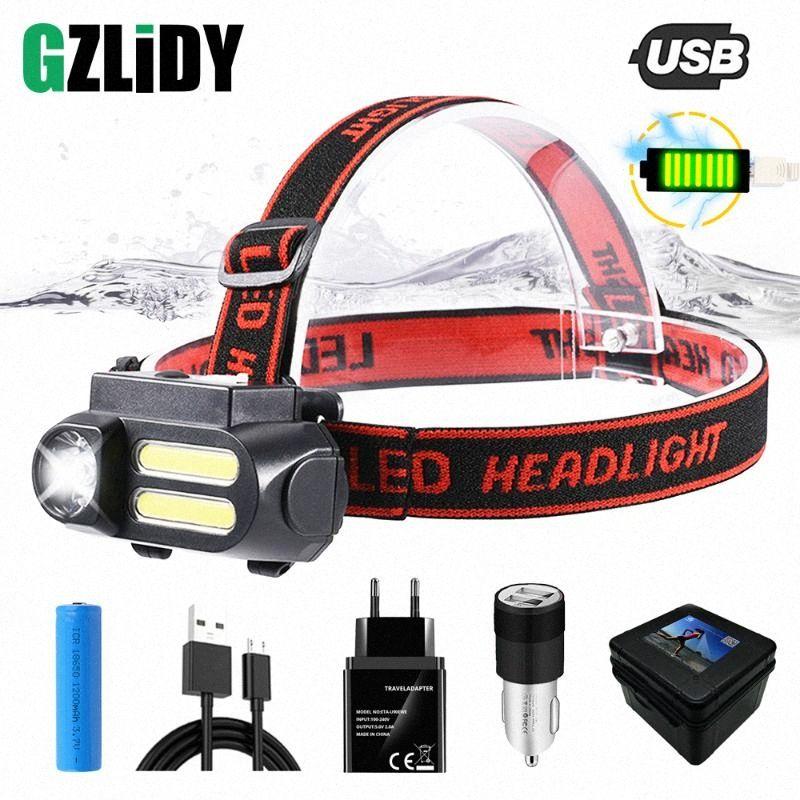 Super Bright LED Headlamp COB Work Light 4 Lighting Mode Waterproof Headlight Powered By 18650 Battery Suit For Night Lighting ohT9#