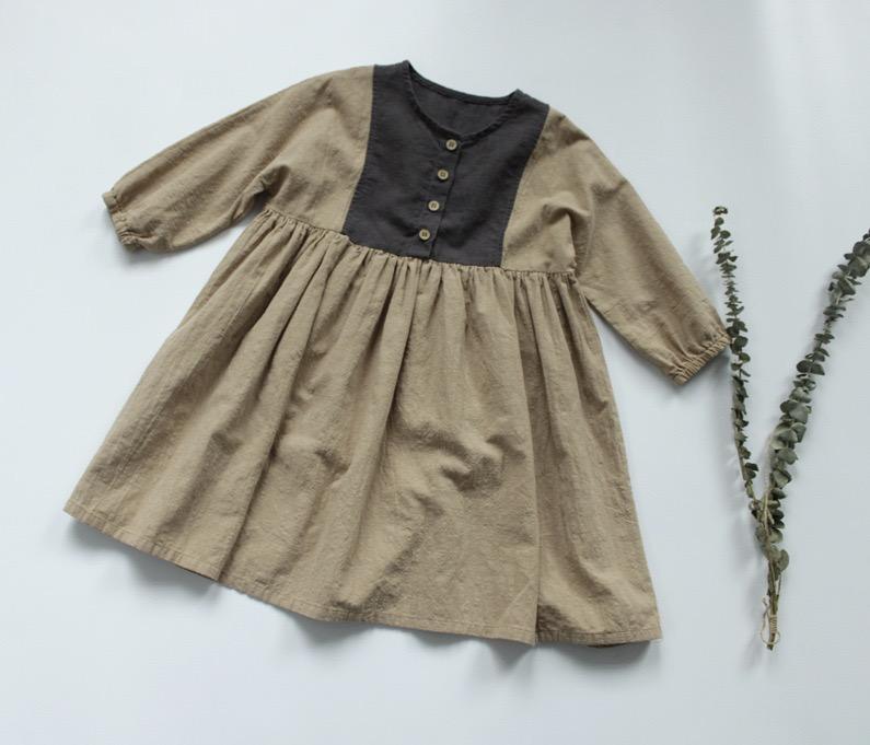 FM coréen qualité ins normes de nouvelle mode enfants petites filles patchwork lin coton élastique enfants filles boutons frontages robes princesse