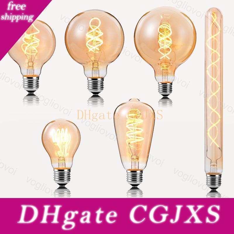 LED Bulbs 3W Ampoule Incandescent Filament 2200K Retro Edison Light E27 220V A60 ST64 G80 For Crystal Chandeliers Pendant Floor Lights DHL