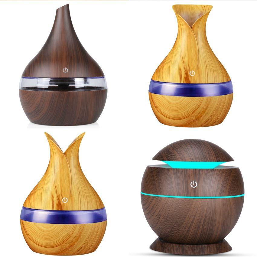 300ml umidificatore usb Legno purificatore Camera Aromaterapia Deodorante legno naturale Grana Diffusore 4 STYLES LJJK2452