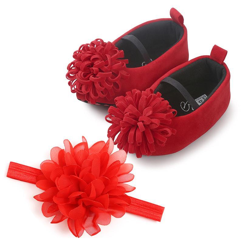 Zapatos de la princesa bebé recién nacido niña de terciopelo primeros caminante casual infantil suavemente único Prewalker con diadema Sapato Infantil