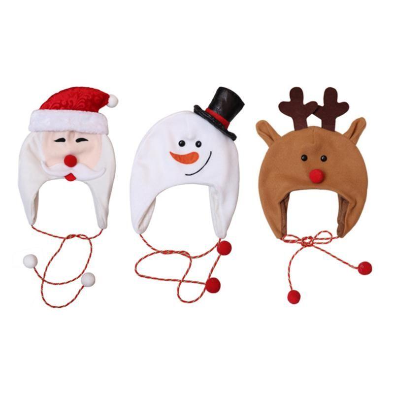 Mignon brossé Tissu de Noël Cap longue corde Chapeau du Père Noël Bonhomme de neige Elk Ornements Enfants adultes Chapeaux festifs