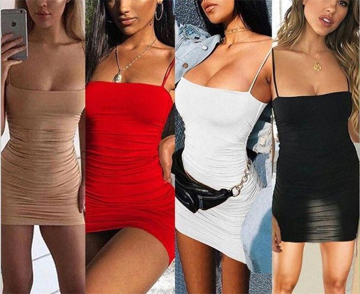 Sexy Club Summer Dress Gonna Donne solido di colore Sling Pieghe Hip Abito senza maniche per le donne M437 JTkm #