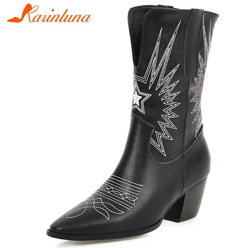 KARIN caliente de la venta Botas de señora a estrenar del tacón alto elegante punta estrecha mitad de la pantorrilla Botas Mujeres cosiendo top del alto de los zapatos mujer occidental