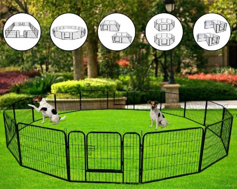 US STOCK High Quality Portable outdoor folding 16-panel heavy duty metal pet playpen W24101524