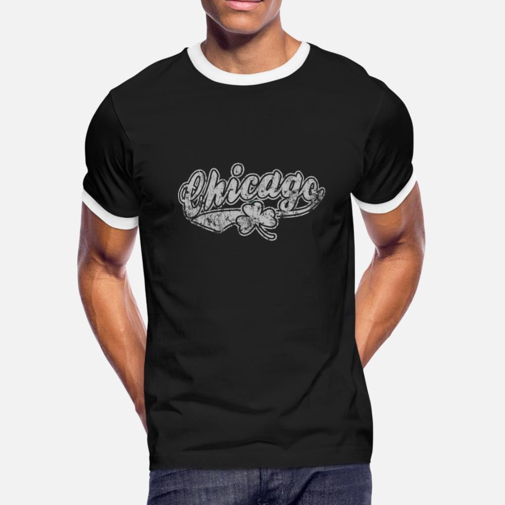 Vintage Chicago Irish St Pattys Day T-Shirt Männer Sonnenlicht Short Sleeve S-3xl Male Sonnenlicht neue Art und Weise Sommerbilder