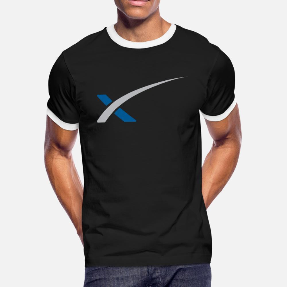 SpaceX Merch T-Shirt Männer-Druck-T-Shirt plus Größe 3xl Bilder Fit Humor Frühling Herbst Formal Shirt