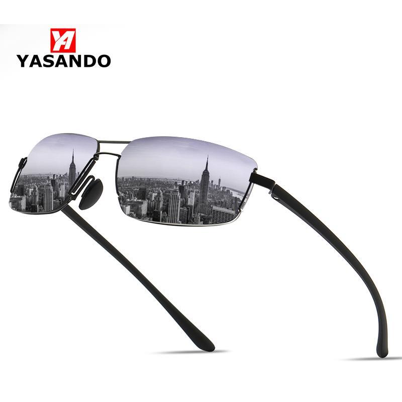 Mujeres polarizadas Hombres Conducción Marco Espejo Classic Yasando Lens Outdoor Rimless UV400 Gafas con gafas de sol XY128 Caja Mufks
