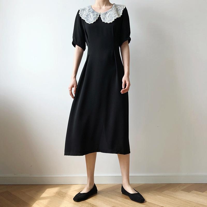SQwGZ szjIV Dantel yaka ince şifon kollu elbise orta boy kadın yaz yüksek bel kısa bel İşlemeli elbise işlemeli