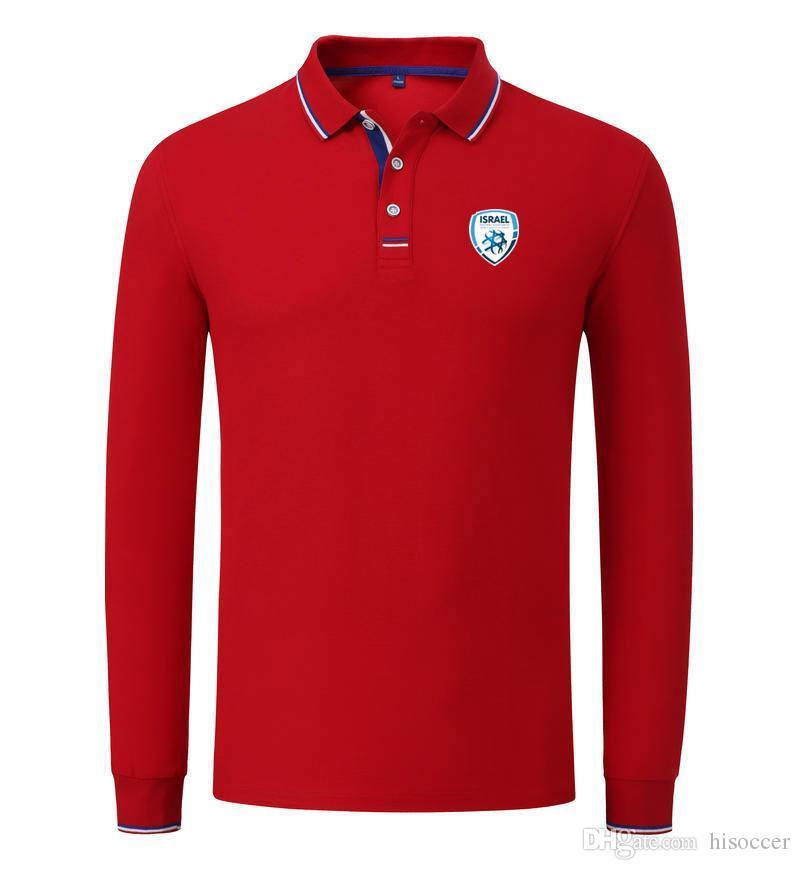 İsrail Futbol Takımı Toptan özelleştirme Logo Erkekler Nefes Uzun Kollu Polo Futbol Spor Golf Casual Spor Giyimi Wear
