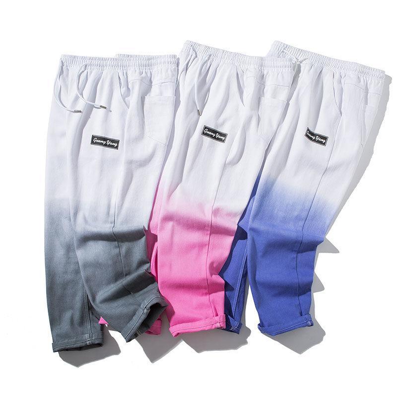 Hip Hop 3 Цвет Градиент Jeans Men 2020 весна осень прямые джинсы штаны мужчин Модные Harajuku Одежда Спорт Streetwear