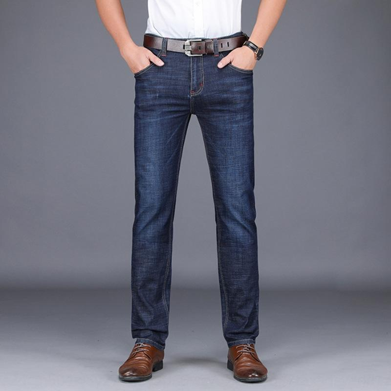 calça casual retas 2020 verão novos homens de perder grande porte casual calças finas e jeans calça jeans negócio dos homens de meia-idade para os homens