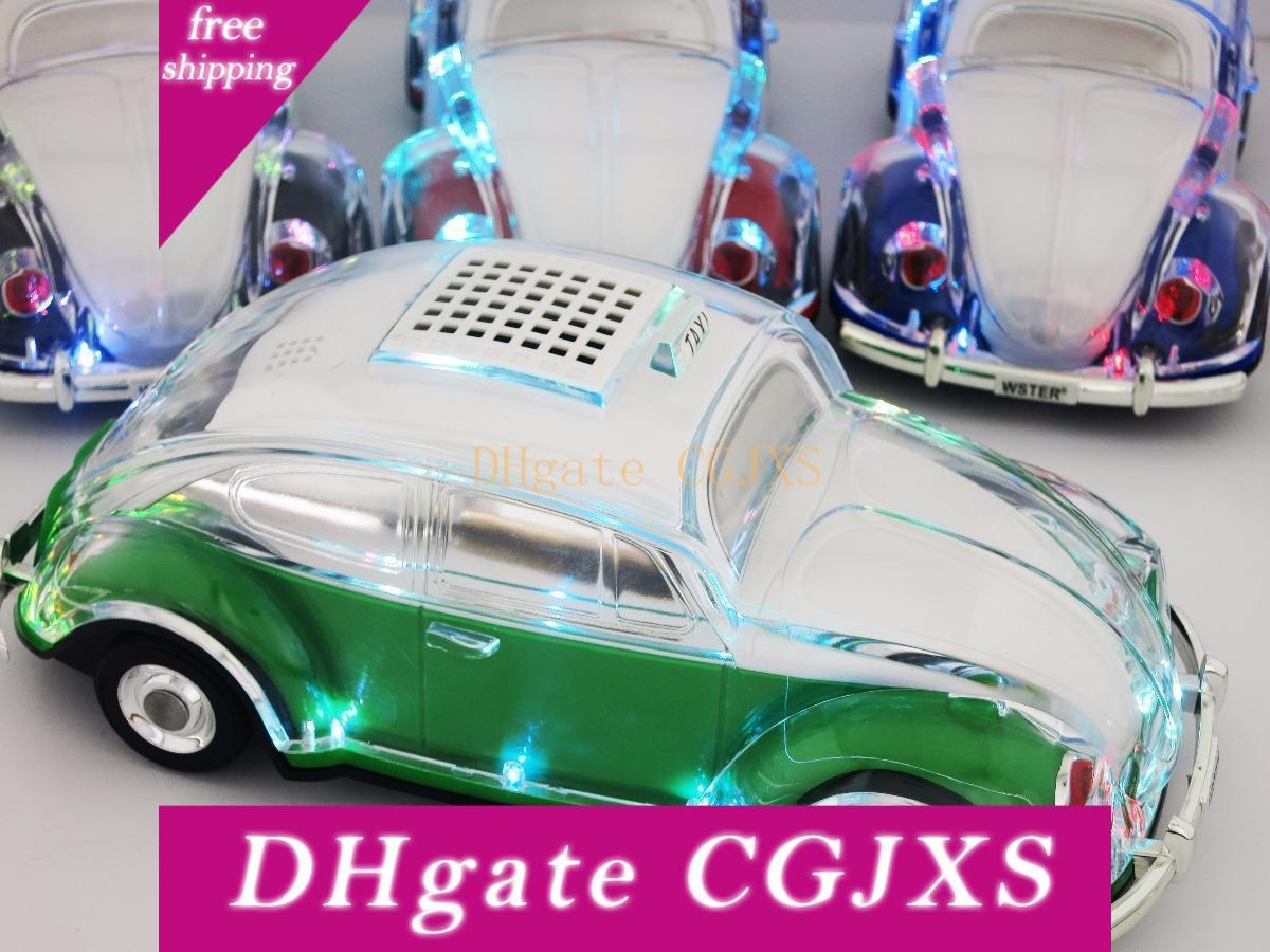 Crystal Car Wireless Speaker Vw Beetle Shaped Auto Taxi Sound Box With Led Flashing Lights Mp3 Udisk Tf Fm Radio Bluetooth Car Bus Subwoofer