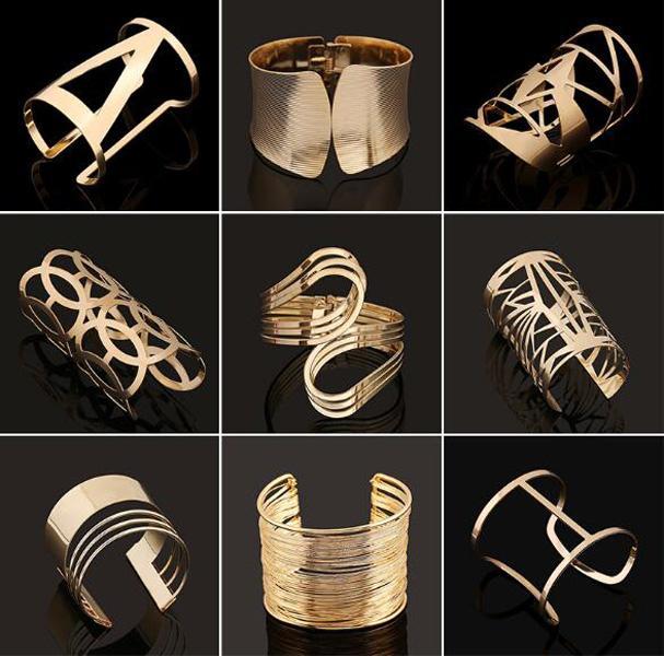 10 pz / lotto Braccialetti in cristallo placcato oro placcato oro Braccialetti di cristallo per il regalo di gioielli di moda fai da te CR026 *