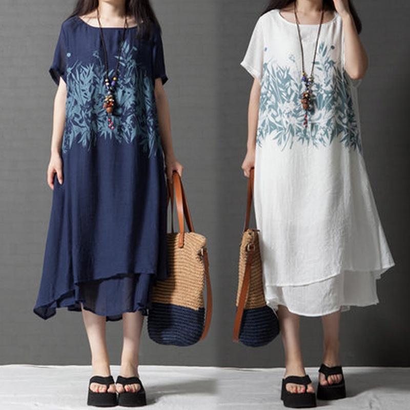 actSB LjPUZ elbise kadın yaz 2020 ve iki adet elbise pamuk ve Etnik pamuk sahte zayıflama büyük boyutu gevşek yeni bir etnik tarzı baskılı