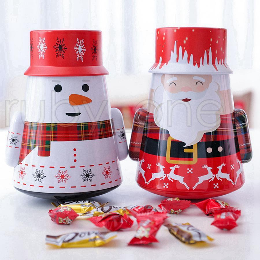 Caixa de Natal Ferro de doces do presente Tin Box Crianças Mailbox Caso Papai Noel do Natal do boneco de neve impresso Jar Sealed caixas de embalagem Detalhes no RRA3471