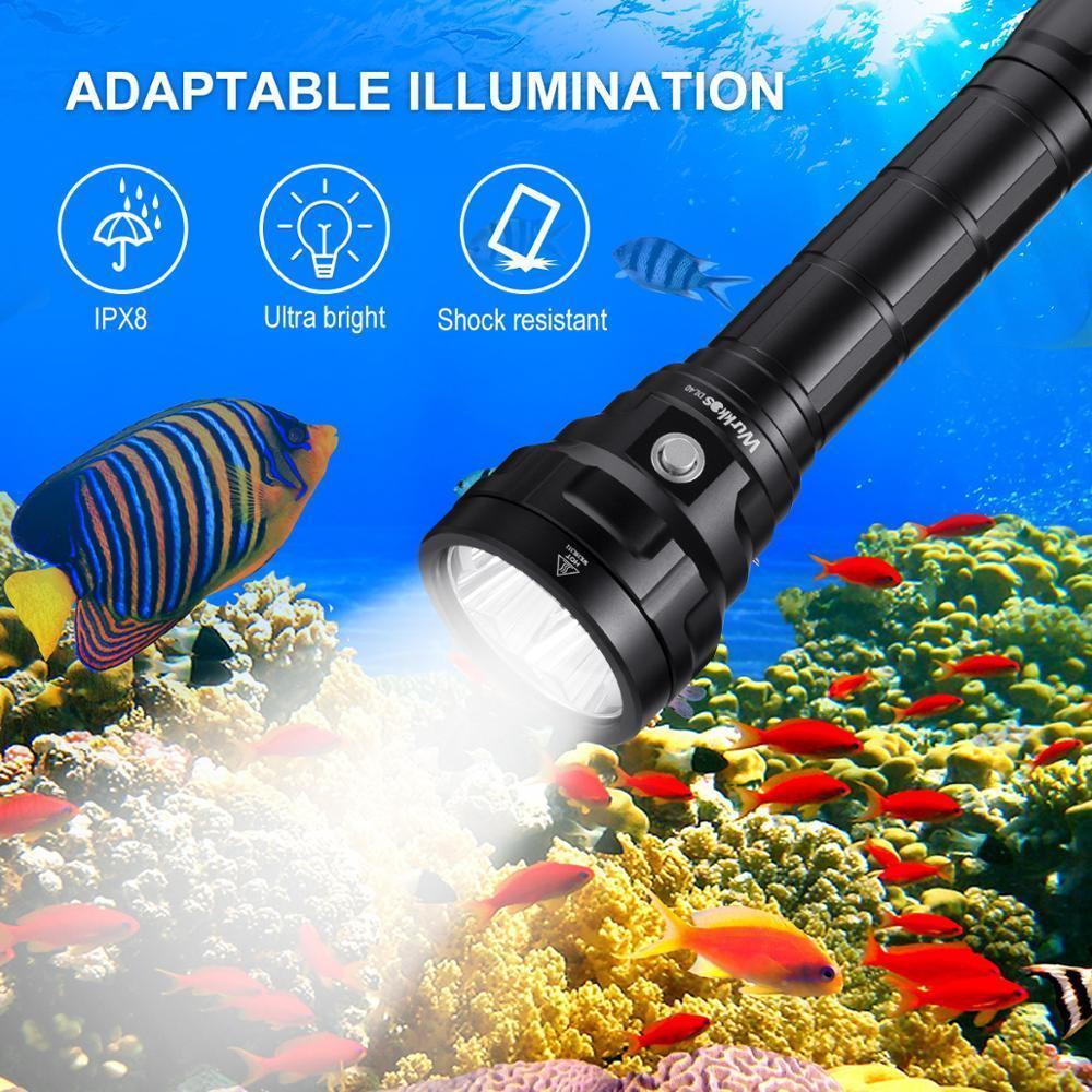 DL40 Potente 5000LM buceo luz brillante de la linterna de buceo con 4 * LH351D 90CRI 26650 Submarino luz de la antorcha 5000K Y200727
