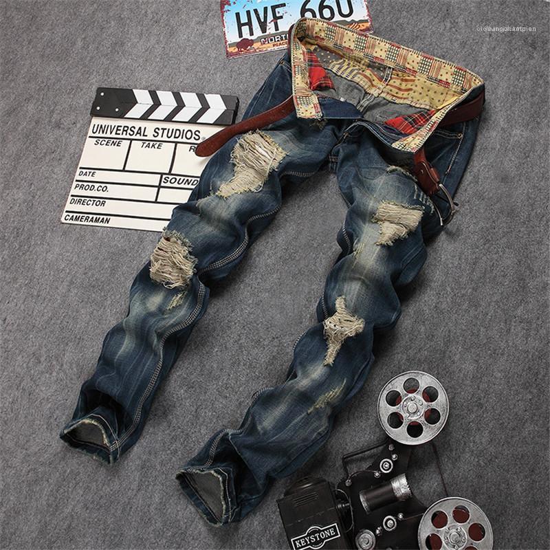 Jeans Vintage Fashion zippée.Poche Hommes Jeans Casual Ripped lambrissés hommes Vêtements Big Hole Mens Designer