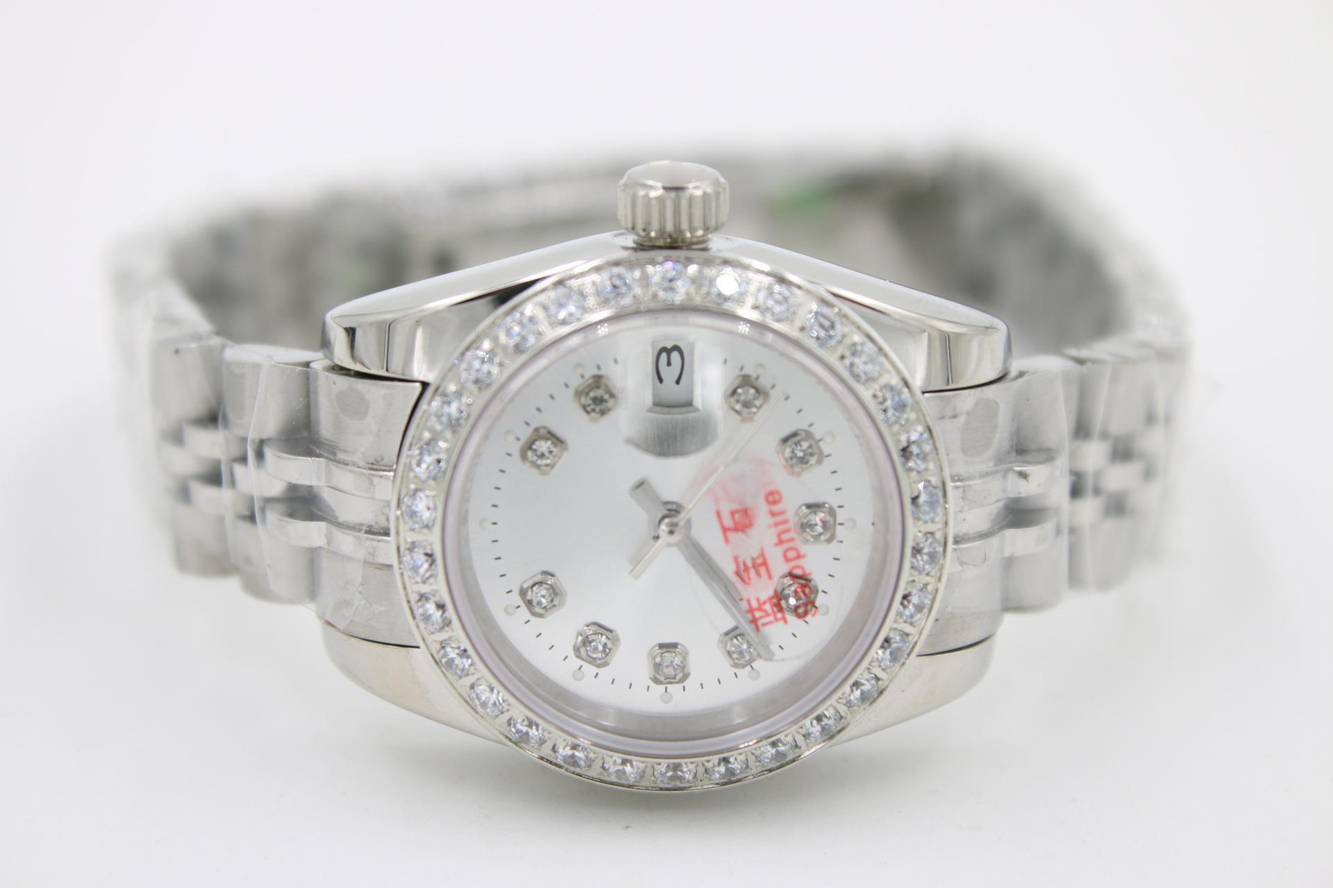 26 ملليمتر - 28 ملليمتر الأزياء الماس النساء الجليد الأزرق الميكانيكية الحركة التلقائي العلامة السيدات الرجال datejust رجل الماس الساعات ووتش المعصم