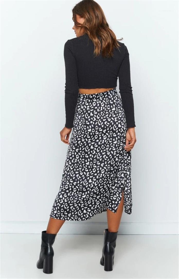 Contraste faldas de las mujeres de cintura alta de la cremallera de la falda del verano del color se separaron vestido de las mujeres diseñador impresa leopardo