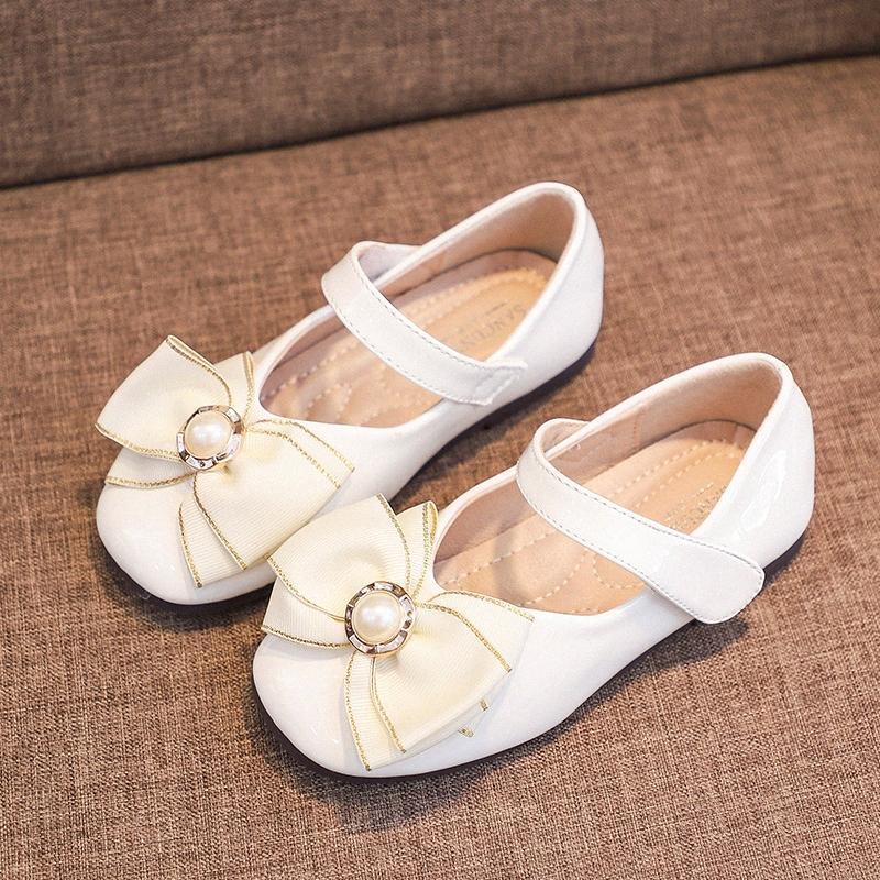 Meninas Princess Tênis 2020 Shoes Primavera New Childrens Individual Pouco menina ocasional Grosso inferior do bebê não Leathershoes Deslizamento Sapatos de couro F RiDP #