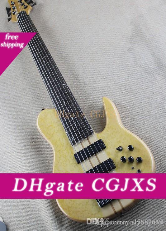 Hellbeige Gelb 7 Bass E-Gitarren Saiten mit aktiven Pickups, Augenbrauen und Vogel Augen, Glattes durch den Körper, maßgeschneiderten Service