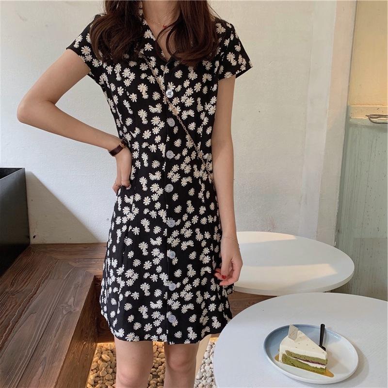 p0aDp Han Fan chic, dame robe de costume manches courtes Daisy été robe à fleurs mince ligne haute A- col taille A- jupe en ligne