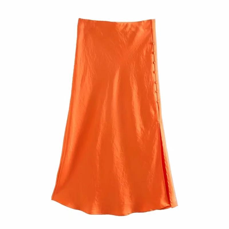 Katı Saten Elastik bel Kadınlar Yan Yarık Midi Etek 2020 Yeni Moda Günlük Lady Düğme dekorasyon İnce Bir Çizgi Etekler LJ200819