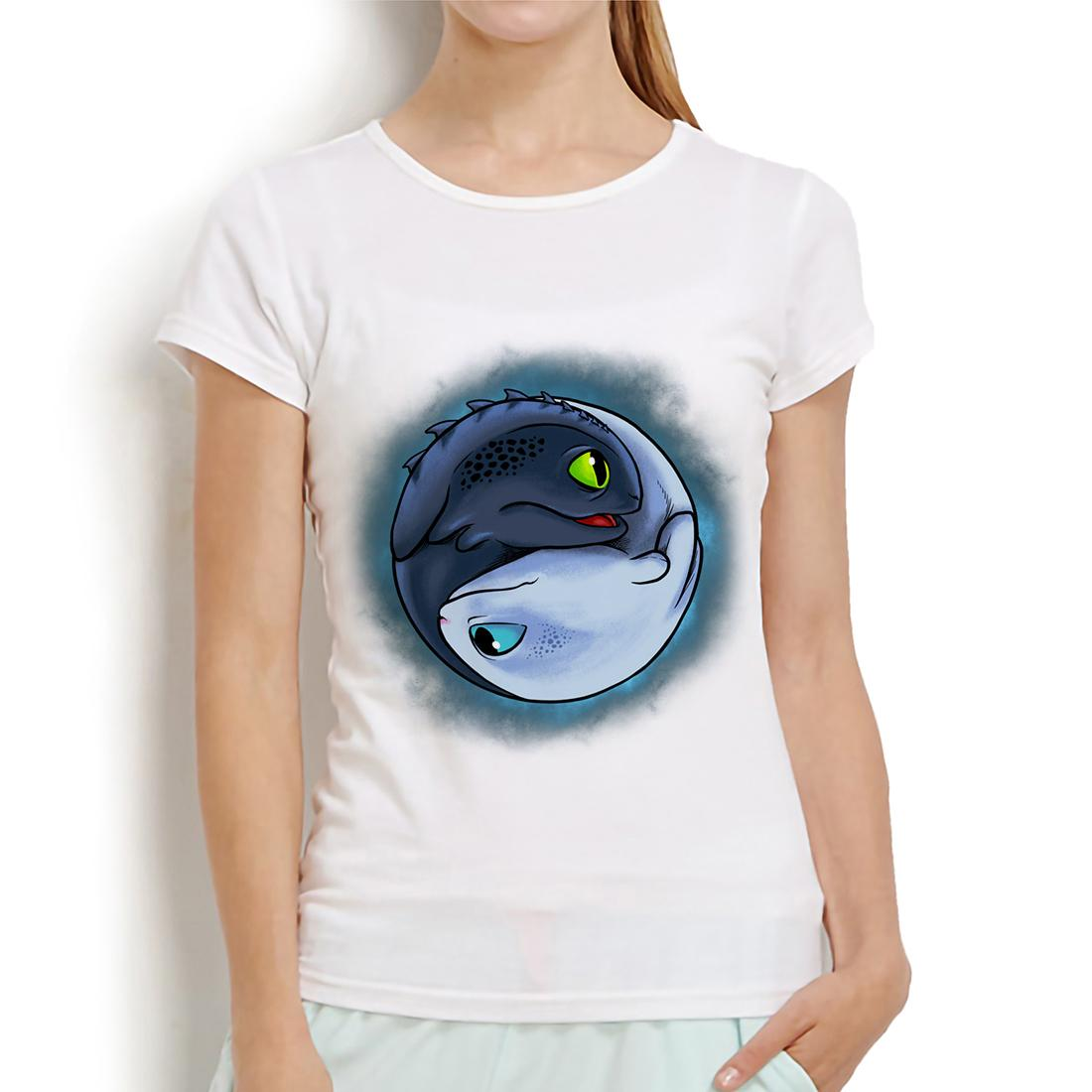 HTTYD Light Fury and Night Fury funny anime t shirt women summer new white casual femme tshirt How To Train Your Dragon
