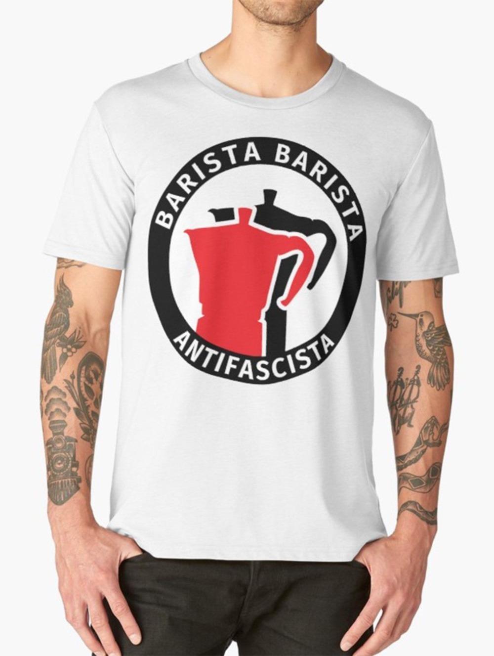 Barista T-shirt drôle Pun café Antifascista T-shirt Homme 2020 New Print T-shirt à manches courtes hommes chauds de bande T-shirts