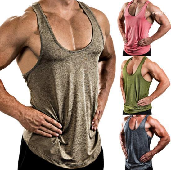 Traspirante Palestra Canotta nuovo arrivo del progettista del Mens Tshirt 20ss Mens Sports Vest solido casuale di colore scollo