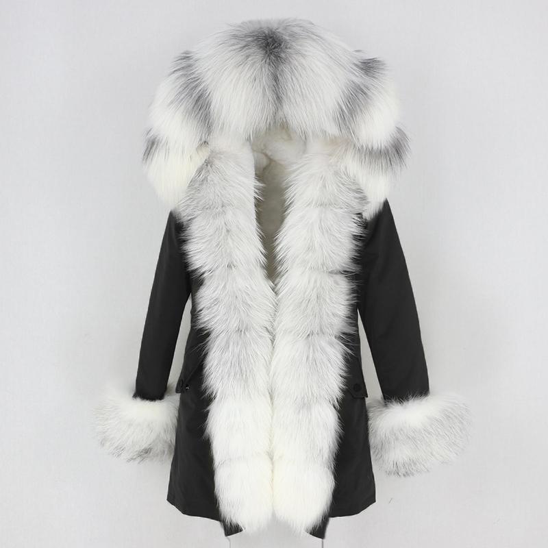 OFTBUY 2020 Luxury Waterproof Parkas Long Parka Real Fur Coat Natural Fox Fur Collar Hood Thick Warm Outerwear Streetwear 3 In 1