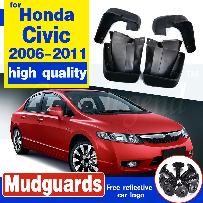 4pcs voiture frontale frontale boue boue boue garde-boue Garde-boue Mudflaps Splash Guards pour Honda / Civic 2006 2007 2008 2009 2011 2011