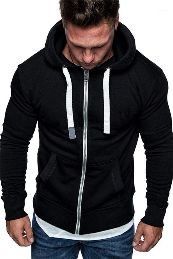 Cepler Katı Renk Erkek Giyim Erkek Tasarımcı Fleece Kapüşonlular Long ile Kol Moda İnce Kapşonlu Sweatshirt