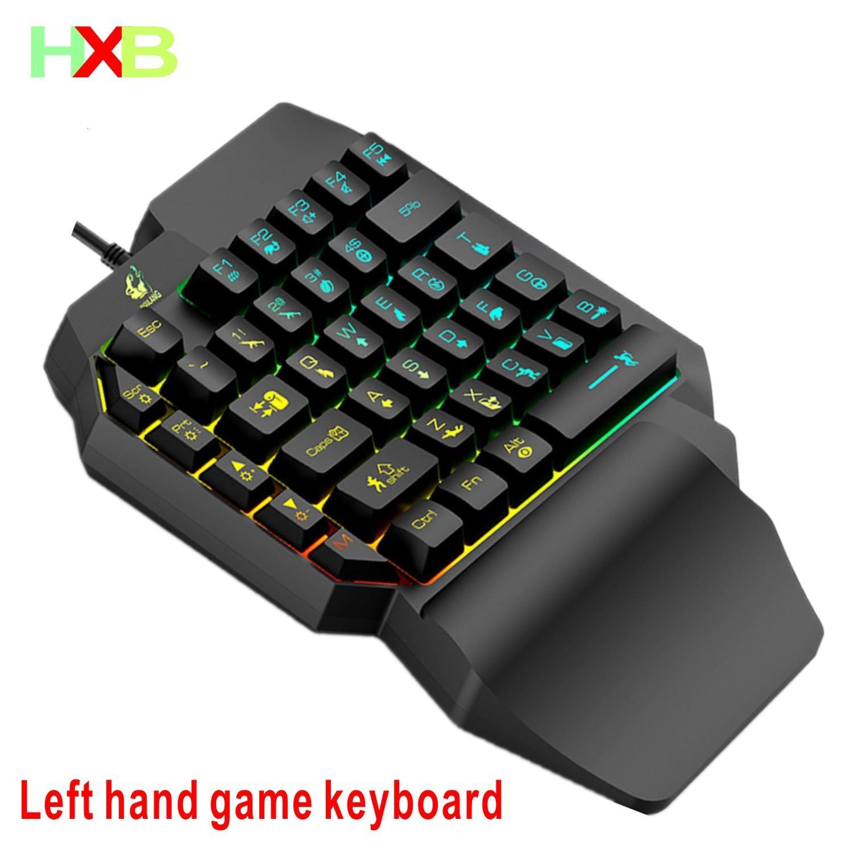 HXB Gaming Gamer ergonomía mecánica Mini 39 Clave sola mano llevó la luz de fondo del teclado con cable para PC de escritorio