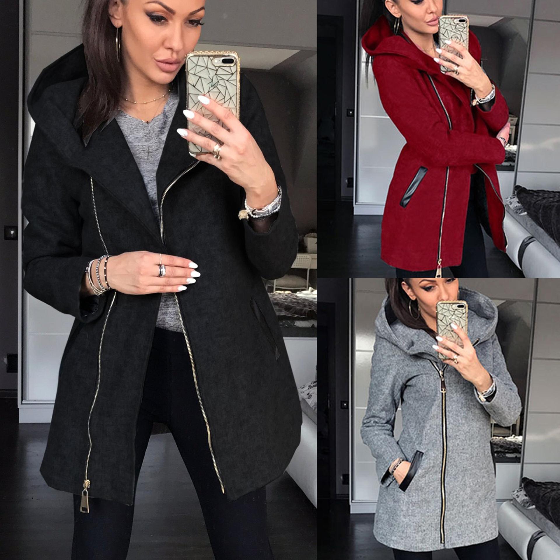 2019 autunno e l'inverno della chiusura lampo cappotto maglione moda collage lato Pocket Plus hoodie del cappotto con cappuccio di velluto giacca Dj1S9