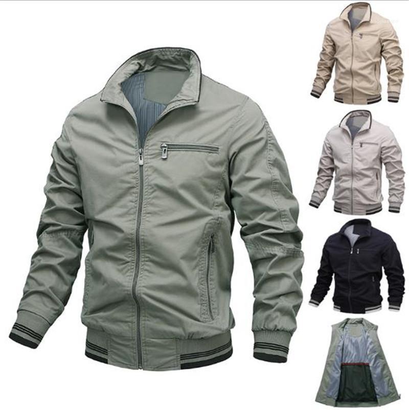 Outerwears avec fermeture éclair Mode Hommes Manteaux Lapel manches longues Cardigan Casual vestes pour hommes de couleur solide