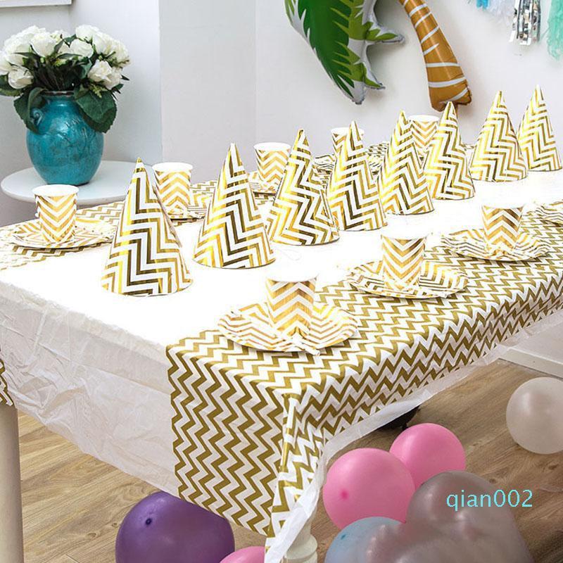 زينة دش الذهب الفضة موجة نقطة مفرش المائدة المتاح البلاستيك الجدول القماش حفل زفاف عيد ميلاد الطفل