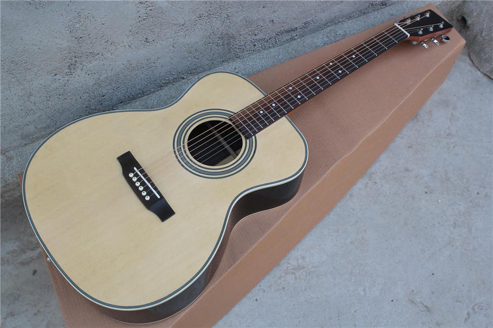La madera natural fábrica a la medida del color 41 pulgadas 00028 Guitarra acústica con placa radiante, palisandro, puntos traste del embutido, puede ser personalizado