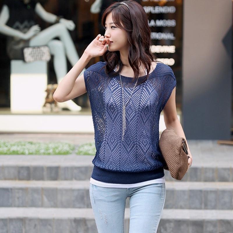 vestuário verão camisa Roupa Bat estilo coreano elegante slim de manga curta ocos s morcego malha camisa pullover camisola das mulheres