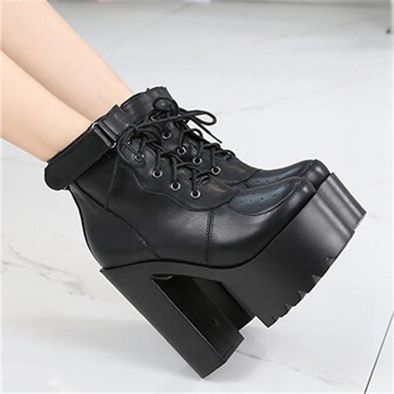 가을 겨울 레이스 업 크로스 여성 화이트 블랙 블록 뒤꿈치 신발 펑크 고딕 양식의 전투 부팅을위한 플랫폼 하이힐은 발목 부츠 묶여