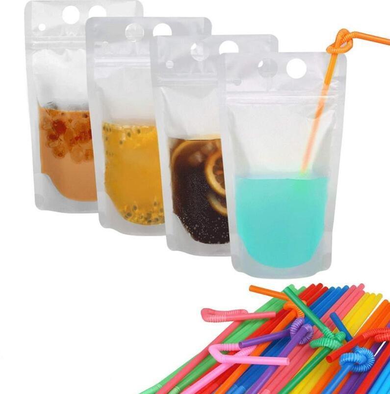 Claro Bebida helado bolsas de los bolsos de la cremallera de pie de plástico de bebida Bolsa de paja 17 oz esmerilado puede volver a cerrar Stand-up Bag + Paja libre de DHL