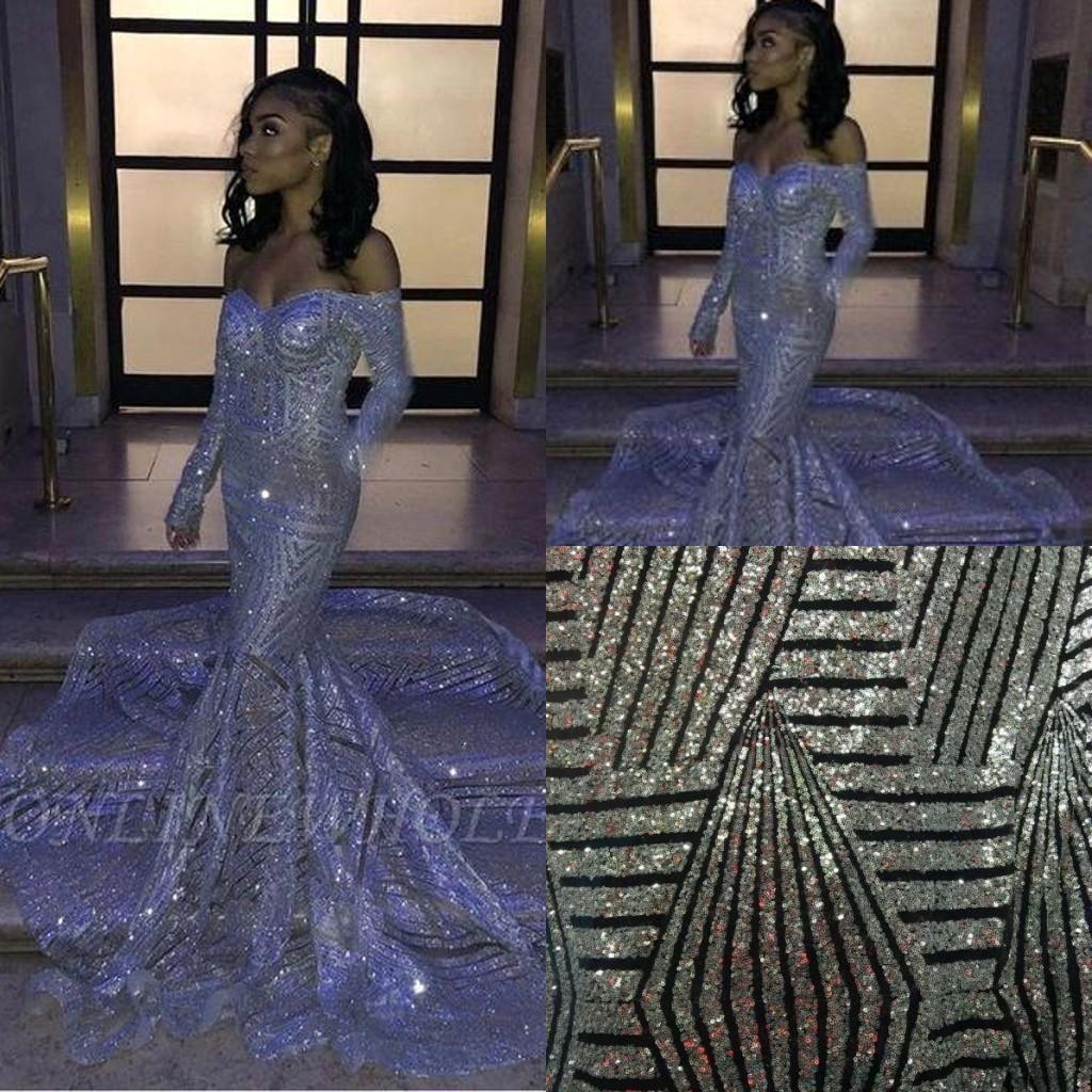 2020 Partido Vestidos graduação de prata Sexy Africano Mermaid Prom Vestidos Tribunal Trem Lantejoula Vestido Longo BC3306
