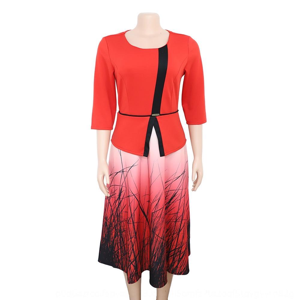 Kadın kırpılan kollu baskılı elbise elbise anne büyük orta boy koymak anne boyutu annemin giysilerini AhZyw koymak