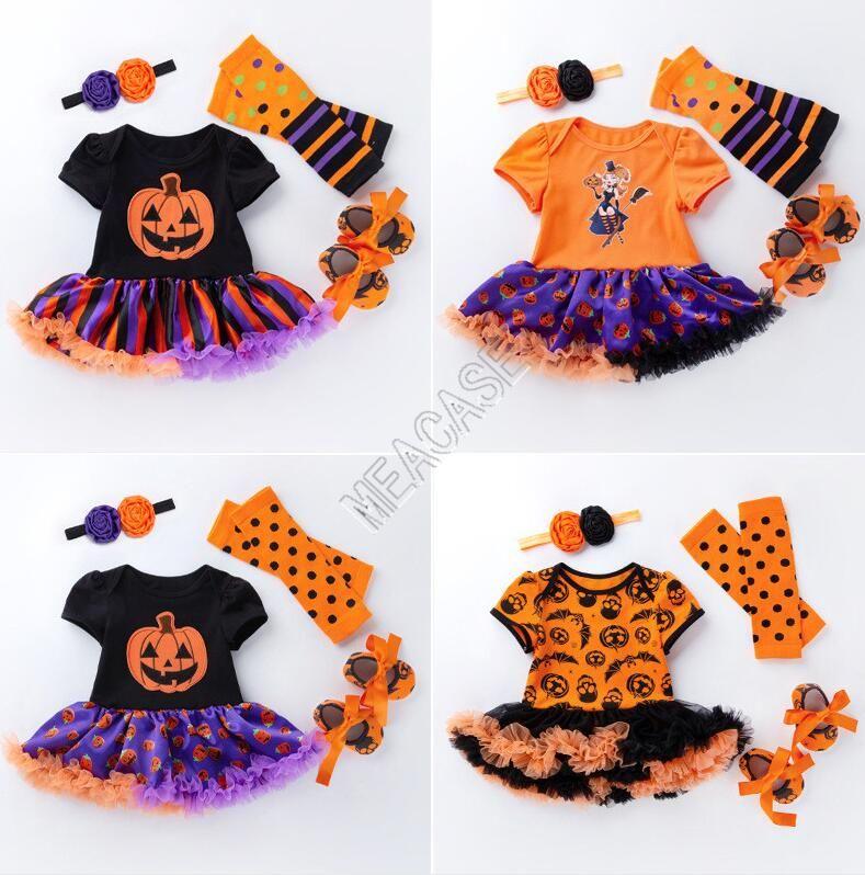 Cadılar bayramı Bebek Kız Giysileri Set Tulum Tutu Elbise + Kafa + Kneepad + Ayakkabı Dört Parçalı Suit Cadılar Bayramı Çocuk Tencere Kar Balkabağı Tulumlar D82503