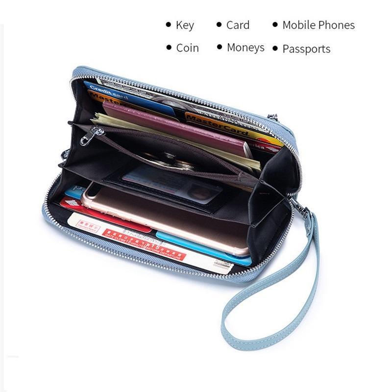 Monedero teléfono mujer embrague moneda para bolsas femenino billetera teléfono bolsillo carteras titulares tarjeta de cuero bolsillo largas mujeres genuinas ksmvc